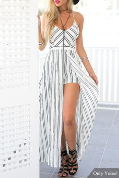 This elegant on-trend stripe playsuit is a unique statement piece! Pair this gorgeous playsuit with gladiator sandals and windswept hair for a go-to look! Long White Maxi Dress, Strappy Maxi Dress, Little White Dresses, Romper With Train, Romper With Skirt, Culotte Dress, Jumpsuit, Striped Playsuit, Maxi Playsuit
