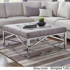 Solene Geometric Base Square Ottoman Coffee Table - Chrome by iNSPIRE Q Bold ([Grey Linen]- Dimpled Tufts), Size Medium (Fabric)