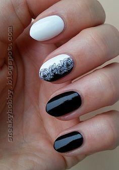 Grey Roses nail art by Mgielka M