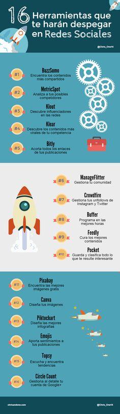 Hola: Una infografía con 16 herramientas que te harán despegar en Redes Sociales. Un saludo