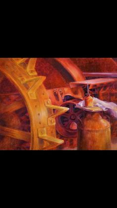 """""""In Homage to Uncle Howard"""" 16X20 oil by Carol McIntyre. My second favorite analogous painting.  The colors are beautiful, it almost looks like an actual photograph.  It looks like this was painted in a factory so the colors he chose could representen how hot it gets in the factory."""