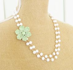 Mint Green Flower Statement Necklace - White Glass Beads Asymmetrical Vintage Enamel Flower - Hand Wired Double Strand Wedding, Bridal