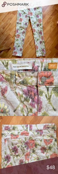 "Anthropologie Pilcro floral jeans Pilcro and the Letterpress beige jeans, colorful floral design, comfortable stretch, Excellent condition. Waist 16"", inseam 29"", rise 10"". Cotton/spandex. No. 31, fit STET. Anthropologie Jeans Skinny"