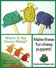 Make Fun Sheep Puppets – Art Project for Where is the Green Sheep.  This is a fun art project to do with preschoolers that goes along with reading Where is the Green Sheep? by Mem Fox.