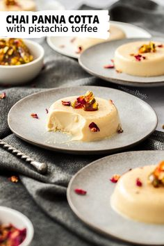 This Chai Panna Cotta with Pistachio Toffee is an easy Italian dessert with an exotic twist. It's a silky smooth Italian panna cotta recipe with the comforting flavour of chai spices that only takes 20 minutes to make. Cold Desserts, Winter Desserts, Gourmet Desserts, Easy Desserts, Gourmet Recipes, Sweet Recipes, Dessert Recipes, Easy Italian Desserts, Gourmet Foods