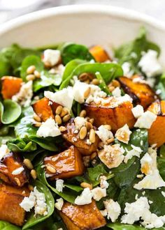 This Roast Pumpkin, Spinach and Feta Salad with a Honey Balsamic Dressing is a magical combination. Terrific side or as a meal. This Roast Pumpkin, Spinach and Feta Salad with a Honey Balsamic Dressing is a magical combination. Terrific side or as a meal. Salad Recipes For Dinner, Healthy Salad Recipes, Vegetarian Recipes, Cooking Recipes, Salads For Lunch, Spinach Recipes, Vegetarian Salad, Recipe For Salad, Pumpkin Recipes Lunch
