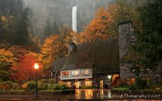 On a misty fall day, Multnomah Falls Lodge otherwise I'd HAVE a car.