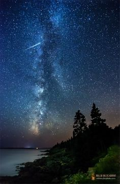 Meteor, Milky Way  Taken by Mike Taylor on July 16, 2013 @ Acadia Natl Park, Maine