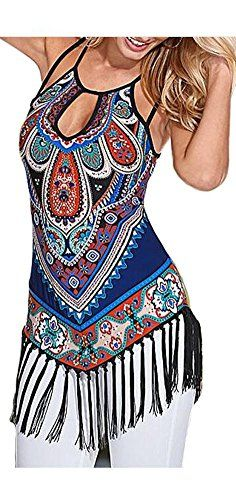 d806a26808 ETCYY Women s Summer Printed Vest Strap Camisole Casual Tassels Tank Tops  at Amazon Women s Clothing store