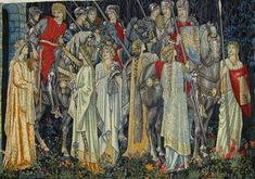Edward Burne-Jones, William Morris and John Henry Dearle - The Arming and Departure of the Knights of the Round Table on the Quest for the Holy Grail. 240 x 347 cm, Cotton warp, wool and silk weft tapestry, Collection of Jimmy Page Tapestry Crochet, Tapestry Weaving, Tapestry Wall Hanging, Boho Tapestry, Medieval Tapestry, Medieval Art, Medieval Times, Medieval Clothing, Contemporary Tapestries