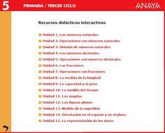 Recursos didácticos interactivos, Matemáticas 5º E. Primaria, Editorial Anaya
