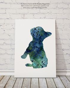 Blue French Bulldog Giclee Fine Art Print, Colorful Dog Silhouette, Watercolor Painting, Abstract Frenchie Home Decor, Nursery Art by Silhouetown on Etsy