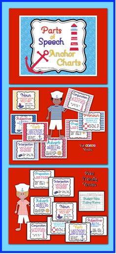 "$These Nautical themed Parts of Speech posters look great on walls or bulletin boards. They are perfect for introducing or reviewing parts of speech. This printable pack includes 8 colorful posters to print on 8.5X11"" paper. The posters are available in full color or in a print friendly version. Also included are several forms for student note taking.$"