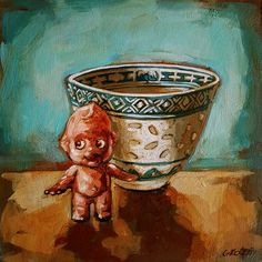 Buy 'Kewpie And Teacup', a small still-life painting on board of a Kewpie Doll by fine artist Grace Kotze, size 20 x for sale at StateoftheART. Paintings Online, Online Painting, South African Artists, Doll Painting, Kewpie, Teacup, Online Art Gallery, Still Life, Dolls