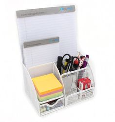 Amazon.com : EasyPAG Mesh Desk Organizer 5 Compartments and 1 Slide Drawer Desktop Collection Office Supply Caddy, White : Office Products