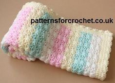 Crochet Candy Stripe Baby Blanket This pretty stripe blanket is perfect for a baby. Enjoy this Crochet Candy Stripe Baby Blanket Pattern by Patters For Crochet! Click on the Link for the Pattern, if you have any questions, please ask the designer on their site. Thanks
