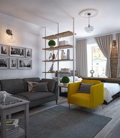 Small Studio Apartment Layout Design Ideas - home design Studio Apartment Layout, Studio Apartment Decorating, Studio Layout, Studio Design, Apartment Ideas, Studio Apartment Divider, Small Apartment Layout, Apartment Bedrooms, One Room Apartment