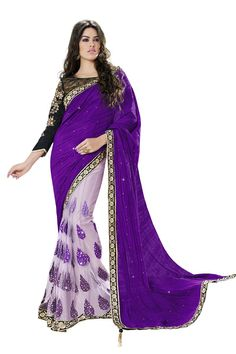 Buy Purple Chiffon Party Wear Saree Online in low price at Variation. Huge collection of Party Wear Sarees for Party, Festivals, Engagements and Ceremonies. #party #partywearsarees #sarees #onlineshopping #latest #lowprice #variation. To see more - https://www.variationfashion.com/collections/party-wear-sarees