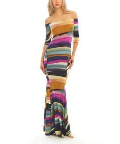 This Purple & Orange Stripe Off-Shoulder Maxi Dress by Zac Studio is perfect! #zulilyfinds