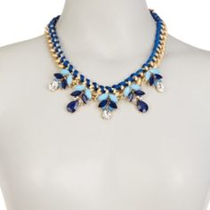 ⭐️Sale⭐️Blue Statement Necklace Blue Threaded Pendant Necklace Beautiful statement necklace that would look as amazing with a t-shirt and jeans, as it would with a LBD. Material Content:  18k gold plated base metals, glass crystals Nickel Free and Lead Free T&J Designs Jewelry Necklaces