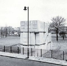 Rachel Whiteread, 'House', 1993, concrete cast of the inside of an entire Victorian terraced house. Exhibited at the location of the original house - 193 Grove Road, East London (all the houses in the street had been knocked down by the council). 'House' was demolished on 11 January 1994.