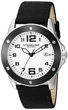 Men's Wrist Watches - Stuhrling Original Mens Aviator Swiss Quartz Stainless Steel and Canvas Sport Watch ColorBlack Model 46333DBO2 >>> You can get additional details at the image link. (This is an Amazon affiliate link)