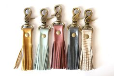 Leather Tassel Keychain - Leather Keychain - Key Fob - Tassel Keychain - by permanentbaggage on Etsy https://www.etsy.com/listing/188117615/leather-tassel-keychain-leather-keychain