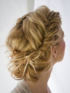 Messy updos like this look way more complicated than they are. A few twists back from your face, a bunch of pins to pin the ends up in sections and you're set. If it doesn't look quite right, it might be because your hair is a little thin. #Hairfinity is a great vitamin supplement to help with that.