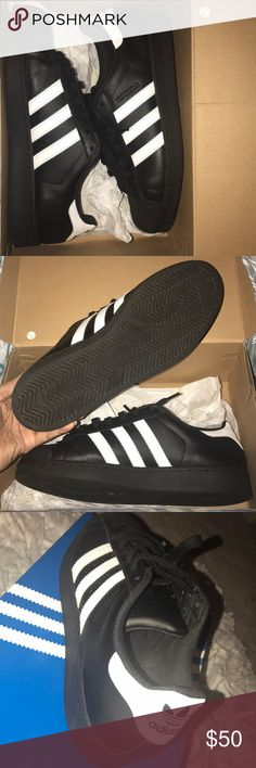 Men - Black Adidas Superstar Adidas Superstar. Only worn once. Have in both black and white. Willing to sell both for $100, or best offer if interested I will make a listing with them together. Size 10 US in Men. adidas Shoes