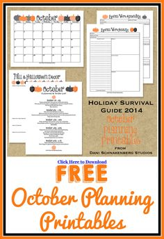 Free October Planning Printables - everything you need to get organized!!! Part of the Holiday Survival Guide!