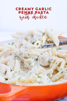Tender pasta and chicken smothered in a creamy, garlicky sauce - Creamy Garlic Penne Pasta with Chicken is a delicious and easy meal for any night of the week!