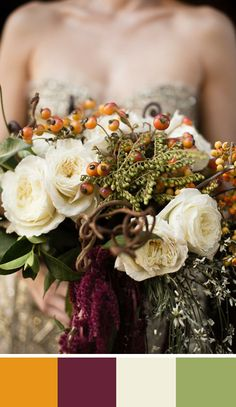 Adding warm whites to a fall bouquet of darker tones keeps the color palette from becoming too heavy. Source: Style Me Pretty #colorpalette #bouquet #amber
