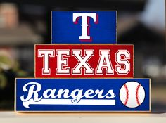 Texas Rangers Baseball - Trio Wood Blocks Stack - Red White Blue - Home Decor/Gift - MLB - Wooden Blocks