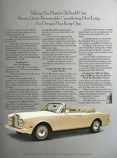Rolls Royce Convertible 1990 Photo Automobile Ad                                                                                                                                                                                 Mehr