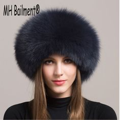 MH Bailment Mens Real Fox hat Thick Warm Fur Hat for Winter