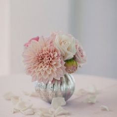 table settings - dahlias & mercury glass bud vases - with dark red dahlias