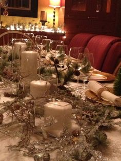 winter tablescape ice and snow