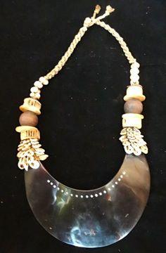 Tribal Kina Shell Necklace Papua New Guinea Asmat Bijoux Art Jewelry Home Decor #Unbranded