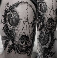 "origamirabbit: "" Róbert A Borbás, Dark Art Tattoo, Hungary "" Daisy Tattoo Designs, Lily Tattoo Design, Mandala Tattoo Design, Skull Tattoo Design, Tattoo Designs And Meanings, Cat Skull Tattoo, Animal Skull Tattoos, Animal Skulls, Tattoo Owl"