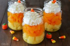 Need a last minute Halloween snack idea? Check out these candy corn fruit parfaits!