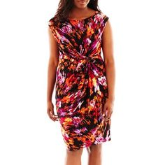 9 & Co.® Side-Knot Print Dress - Plus - jcpenney