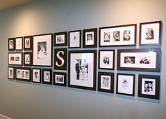 Art/Photo  gallery wall ideas- I like the frames initial mixed in