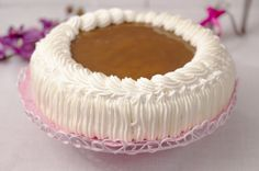 Cream cake with caramel filling Pie Recipes, Sweet Recipes, Baking Recipes, Pasta Cake, Finnish Recipes, Sweet Pastries, Cream Cake, Pie Dish, Cake Decorating