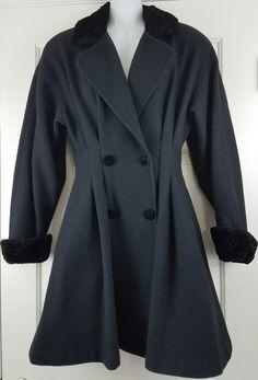 Vtg 90s Billi By Billycoat Black Faux Fur Trimmed Tailored Dress Swing Coat S #BilliByBillycoat