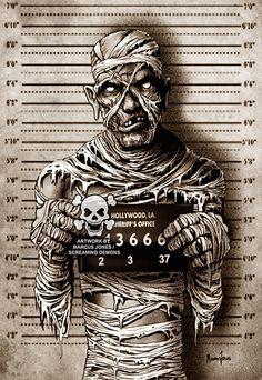 Mummy Mugshot by Marcus Jones Screaming Demons Zombie Tattoo Canvas Giclee Art Print Stretched Canvas Prints, Canvas Art Prints, Fine Art Prints, Zombie Tattoos, Monster Tattoo, Classic Monsters, Lowbrow Art, Horror Art, Mug Shots