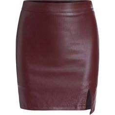 Slit PU Bodycon Wine Red Skirt (€14) ❤ liked on Polyvore featuring skirts, bottoms, saias, gonne, red, body con skirt, short skirts, slit skirt, bodycon skirt and red bodycon skirt