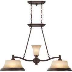 Franklin Georgetown Bronze Two-Light Island Pendant with Sienna Glass