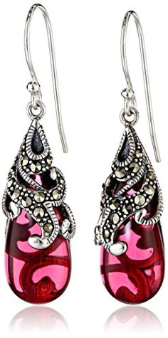 Sterling Silver Marcasite and Red Glass Teardrop Earrings - http://darrenblogs.com/2016/02/sterling-silver-marcasite-and-red-glass-teardrop-earrings/