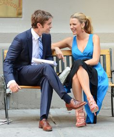 Blake Lively and Chace Crawford have fun on Gossip Girl set