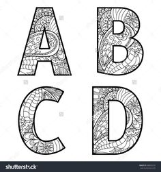Set of vector big letters with pattern doodle. Letter A, B, C, D